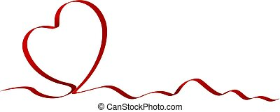Heart shape of red ribbon isolated on white background vector illustration