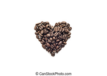 Heart shape of roasted coffee beans on white background.