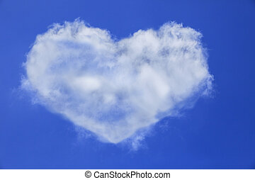 heart shape of white cloud on blue sky use for multipurpose natural background or backdrop