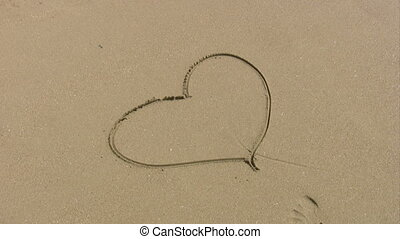 Heart shape on a beach