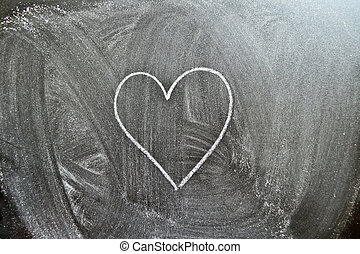 Heart shape on a blackboard background