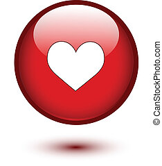 Heart shape on button
