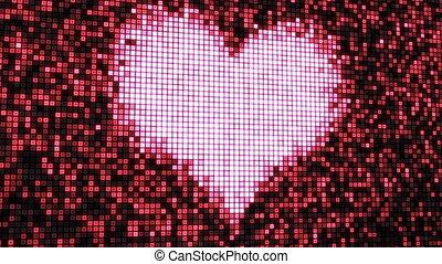 heart shape on digital screen loop - computer generated...