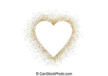 Heart shape on golden glitter over white background