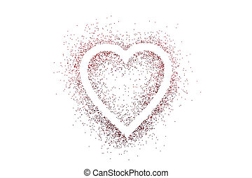 Heart shape on red glitter isolated on white background