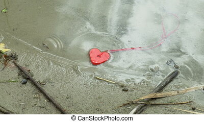 Heart shape on the shore in water