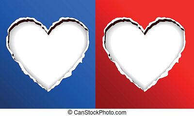 Heart Shape On Torn Paper