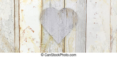 heart shape on wood planks grunge texture background