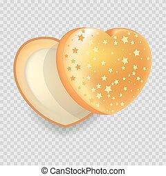 Heart-shape open gift box of shiny iridescent orange color...