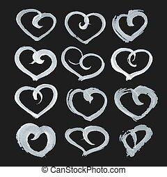 heart shape paint on black paper - Big set of hand-drawn...