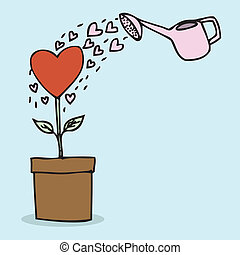 Heart Shape Plant - Illustration of hand drawn heart shape...