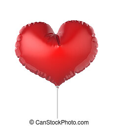 Heart shape red party balloons. Isolated on white background