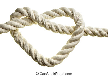 Heart shape rope isolated over white background