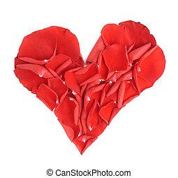 Heart shape rose petals composition - Heart shape made of...
