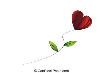 Heart-shape rose with leaves on the white isolated background