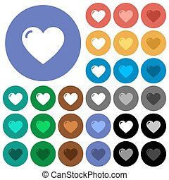 Heart shape round flat multi colored icons