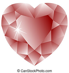 heart shape ruby against white background, abstract vector...