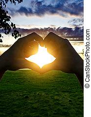 Heart Shape Silhouette on Sunset