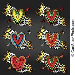 heart shape snake arrows fire