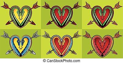 heart shape snake silhouette design