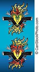 heart shape snake silhouettes glock