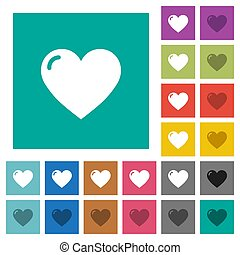 Heart shape square flat multi colored icons