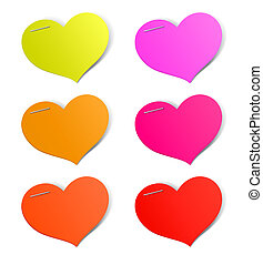 Heart shape stickers set