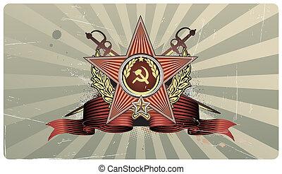 heart shape - illustration of sovietic star shaped Insignia...