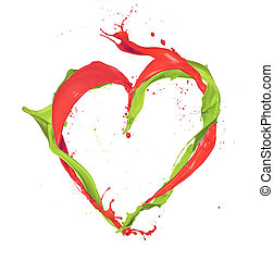 Heart shape made of paint splashes isolated on white