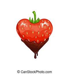 Heart shape strawberry in chocolate