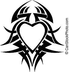 Heart shape tattoo design, vintage engraving.