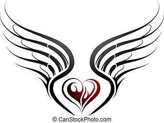 Heart shape tattoo with wings