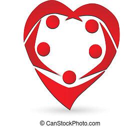Heart shape teamwork people logo