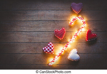 Heart shape toys and lollipop candy with Fairy Lights