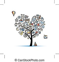 Heart shape tree with toys for baby boy. Vector illustration