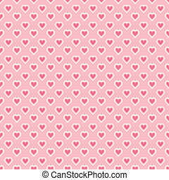 Heart shape vector seamless pattern (tiling). Pink color....