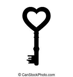 heart shape vintage key icon image vector illustration...