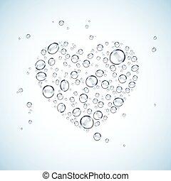 heart shape water drops