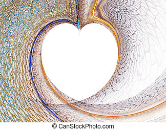white heart formed by colorful net