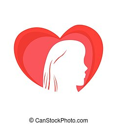 Heart shape with a girl silhouette