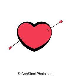 Heart shape with an arrow. Valentine day