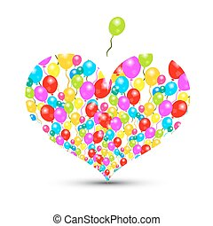 Heart Shape with Colorful Balloons Isolated on White Background