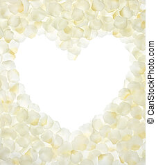heart shape with copy space by fake rose petals