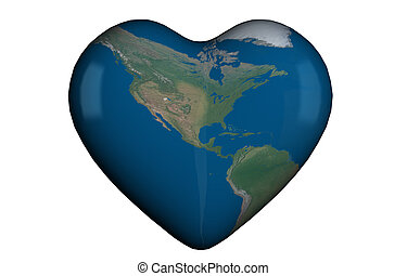 Heart shape with global map - Heart shape in 3D with global...