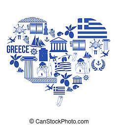 Heart shape with Greece symbols - Traditional symbols of...