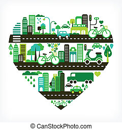 heart shape with green city