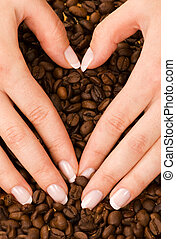 Heart shape with hands above coffee beans