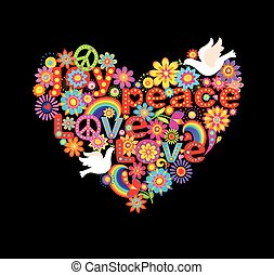 Heart shape with hippie symbolic