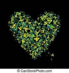 Heart shape with letters for your design