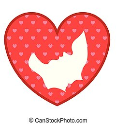 Heart shape with mother and son silhouette